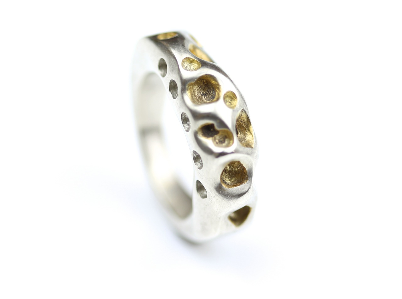 amorph chunky sterling silver ring with partial 24 k